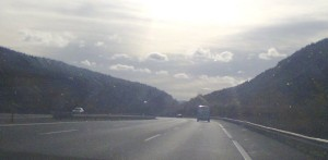 motorway with mountains