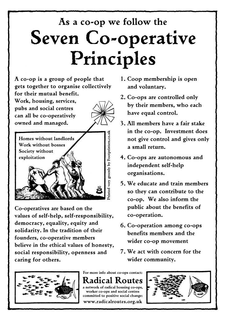 Radical Routes 'Seven Co-operative Principles' poster