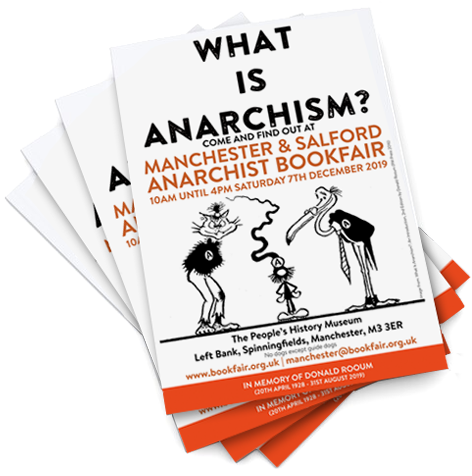 stacks of Manchester & Saltford Anarchist Bookfair posters