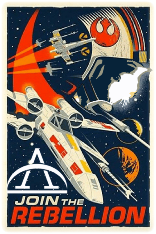 'Join the Rebellion' poster in the Star Wars style, featuring guinea pig pilot