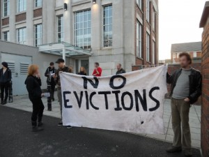 No Evictions banner outside Forman House