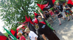first photo of the Radical Workers' bloc on the Tolpuddle Martyrs festival parade