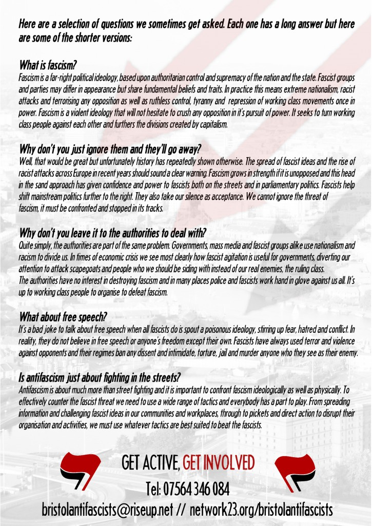 Bristol Antifascists leaflet - Back