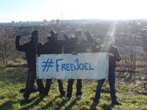 Some antifascists in Bristol show solidarity with imprisoned Swedish antifascist, Joel Almgren