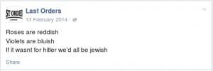 27. Last Orders FB page Hitler 'joke'