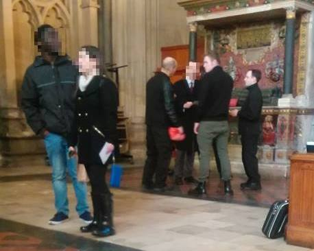 Three members of the 'New British Union' are asked to leave Bristol Cathedral after going there to take shelter from antifascists. (Thanks to Bristol Anarchist Federation for the photo)