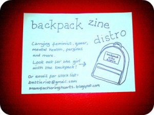 backpack zine distro flier