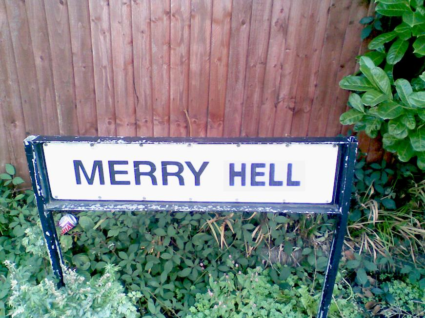 Subverted Merry Hill road sign