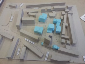 Architect's model of Hathersage and Besant Court Estate following new build developments.