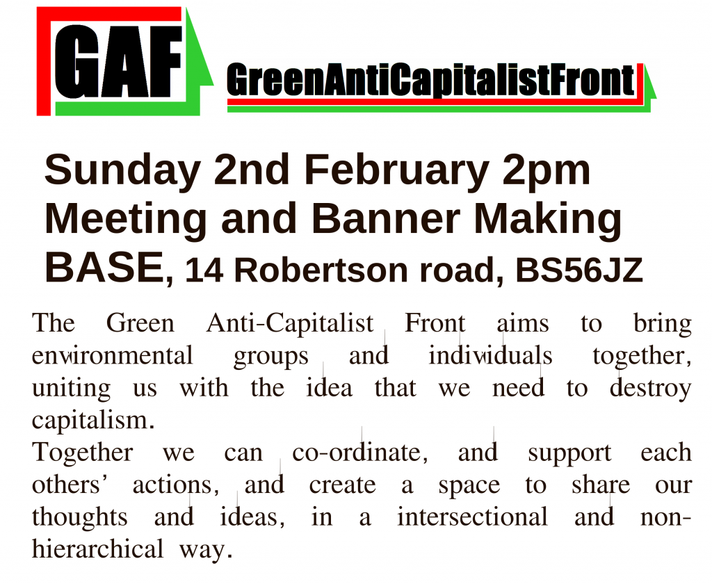 Green Anticapitalist Front banner making and meeting