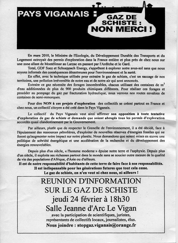 Affiche réunion Le vigan (Gard) 24-02-2011