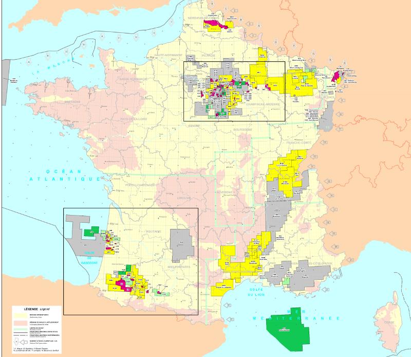 Carte générale des permis en France janv. 2011 ©BEPH