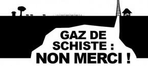 Logo contre le gaz de schiste mou et bouffeur d'encre