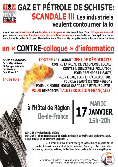 Affiche contre-colloque, 17 janvier 2012