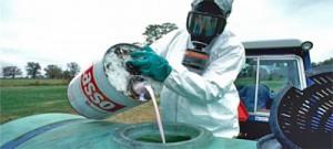Ekinlere sıkılmak üzere hazırlanan Monsanto böcek ilacı