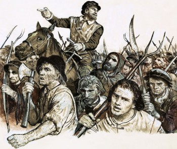 Robert Kett leading a peasants' revolt