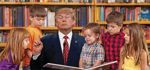Donald Trump reads to children