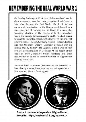 Flyer for 26th July Dockers' Debate (back)