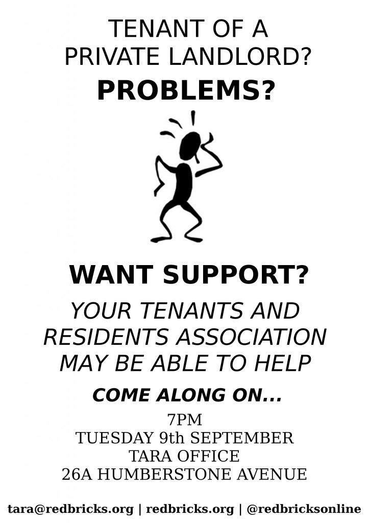 tenants of private landlords event poster