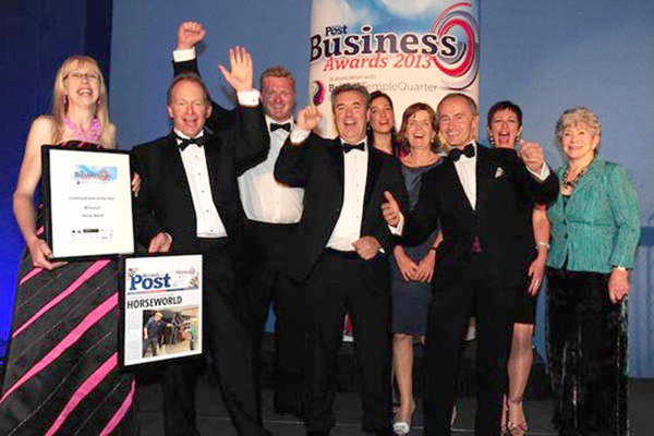 Booze-fuelled HorseWorld management team - including MD Mark Owen (centre) & FD Nikki Bridges (back right) celebrate with jobbing ex-Blue Peter presenter Valerie Singleton (right) at Post Business Awards 2013