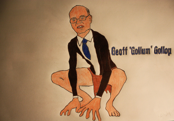 Councillor Geoff Gollop, ink and coloured pencils, 2013, Paul Saville