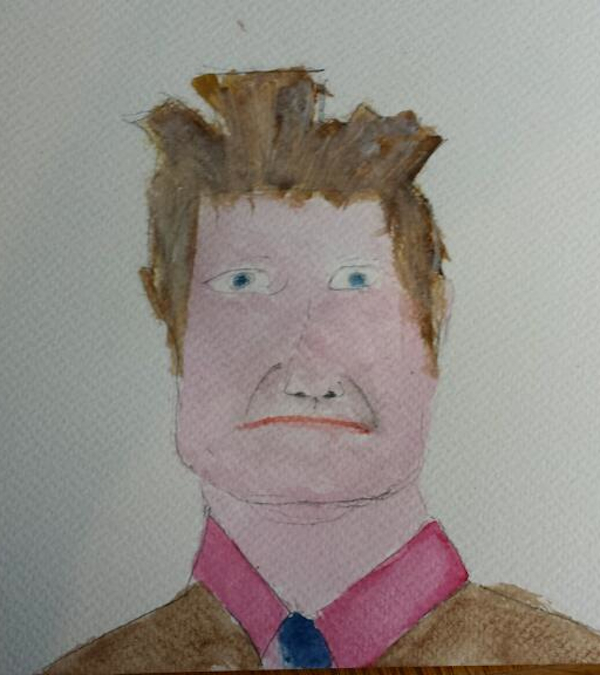 Councillor Christian Martin, watercolour, 2013, Guriben
