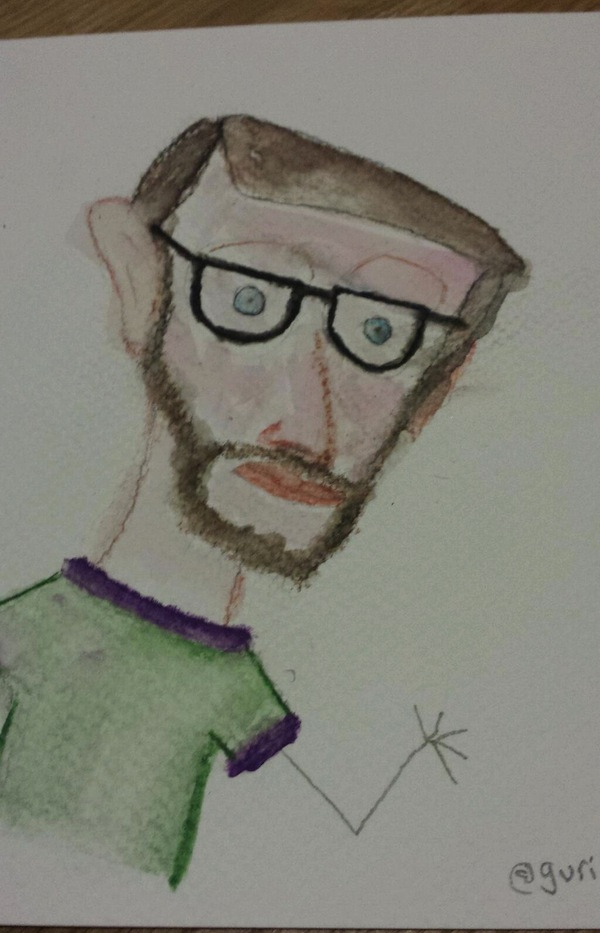Councillor Rob Telford, pencil/watercolours, 2013, @guriben
