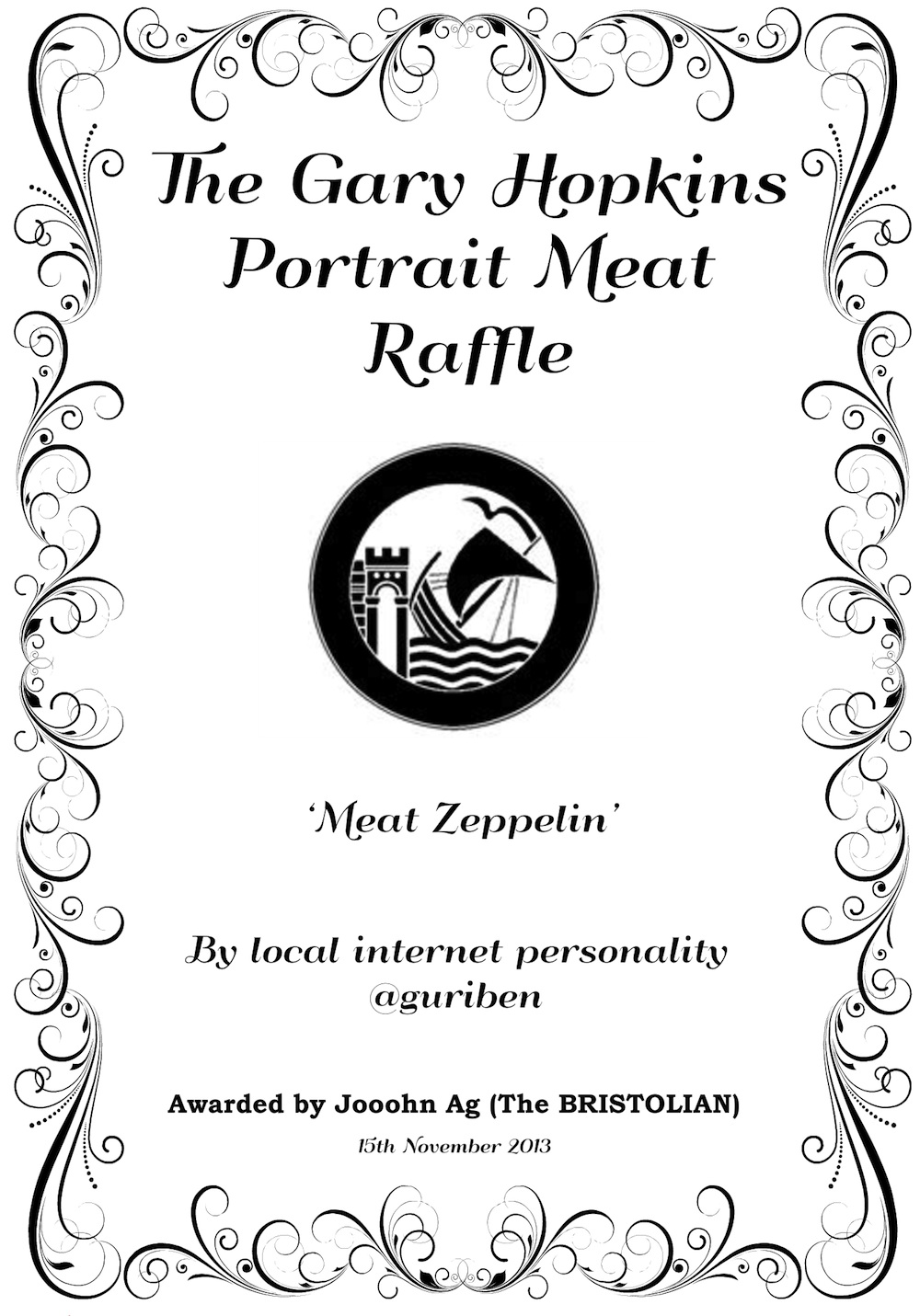 That Gary Hopkins Meat Raffle prize certificate in full