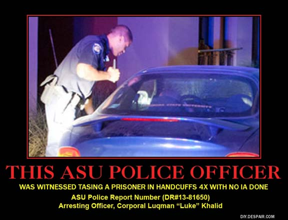 ASU Police Officer assaults prisoner
