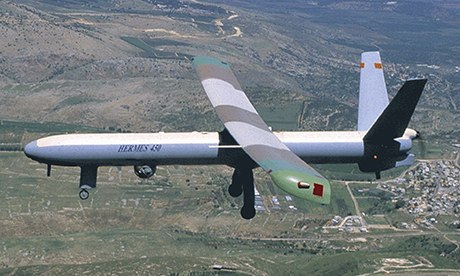 An Elbit Systems Hermes 450 drone. Photograph: AFP/Getty Images