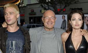 Producer Arnon Milchan with Brad Pitt and Angelina Jolie at the premiere of Mr and Mrs Smith. photograph: L Cohen