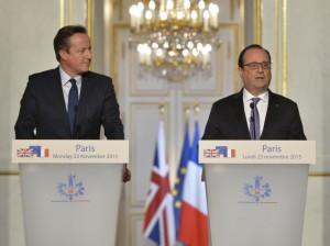 Prime Minister David Cameron with President Francois Hollande at the Elysée Palace in Paris, 23 November 2015